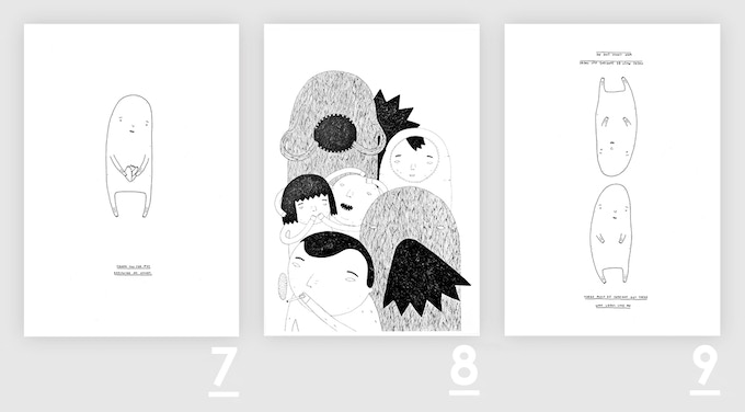 """A3 prints (29,7 x 42cm): 7: """"Thank you for not breaking my heart"""" 8: """"Random people"""" 9: """"There must be someone out there who looks like me"""""""