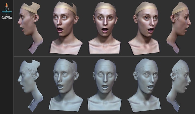 3D scan of female model prepared for Augmented Reality coding and designing in the book