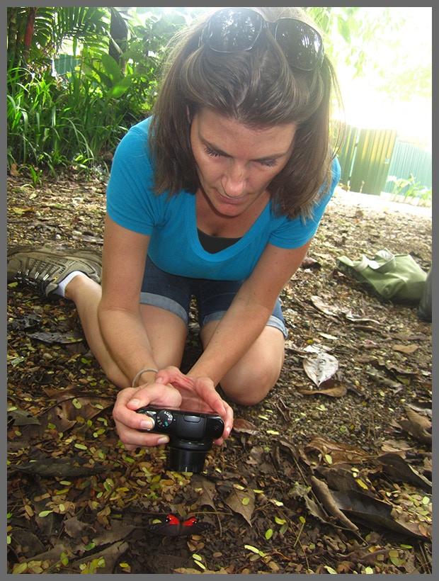 Liz Allen photographing Pierella helvina