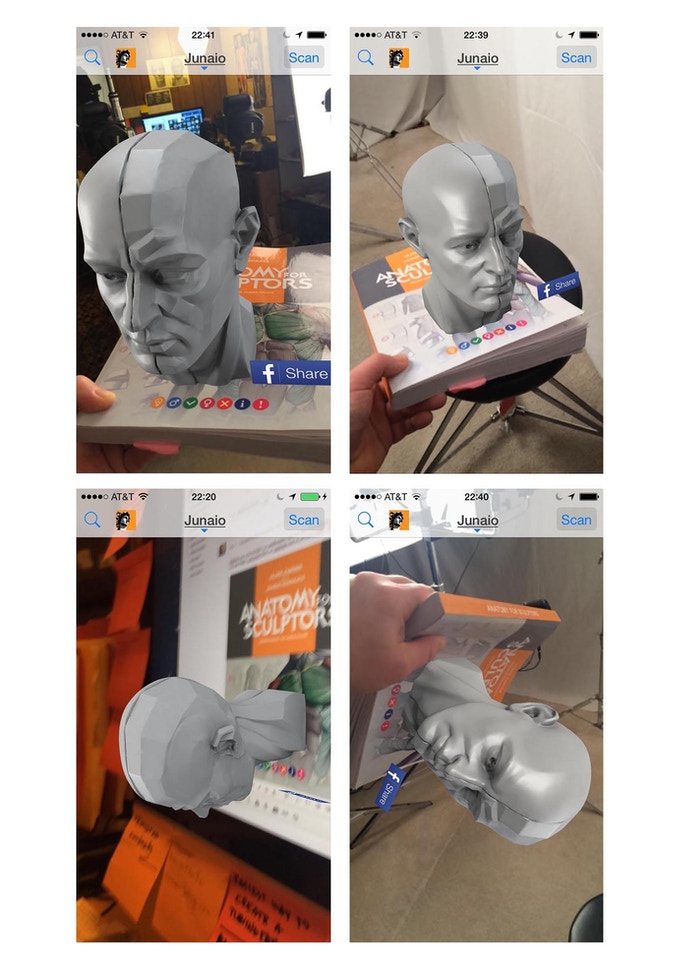 Augmented Reality test experience with Junaio app and Anatomy For Sculptors book's cover