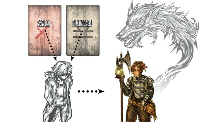 Every player draws a secret skill and a secret faction card. Darn it, here comes a Werewolf Guard!