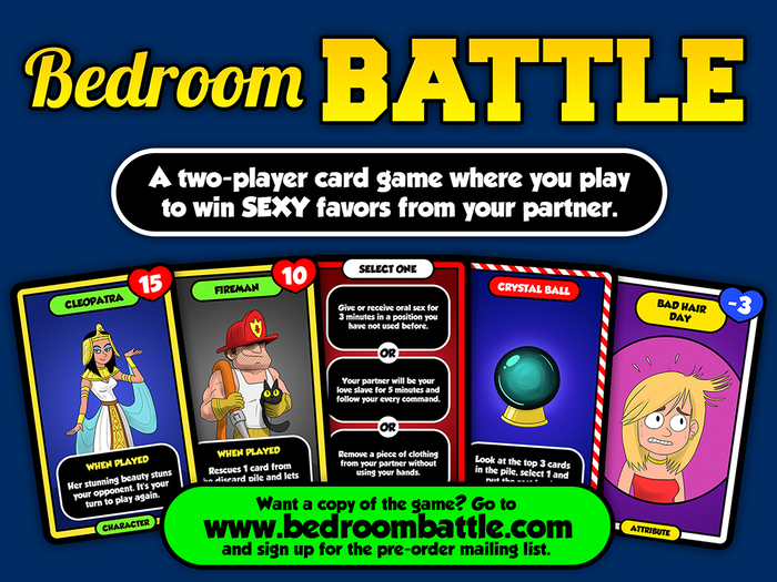 A two-player card game where you play to win sexy favors from your partner