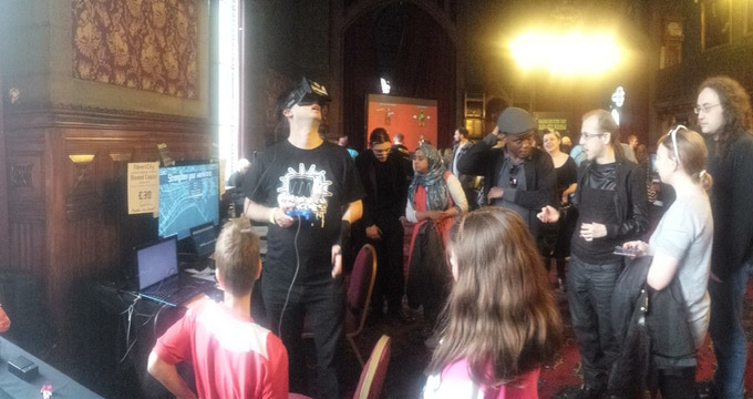 Public play testing of the alpha build in virtual reality with the Oculus Rift at Manchester Day 2015, in the games room organised by Rock Paper Shotgun in the Town Hall.  Click for full gallery.