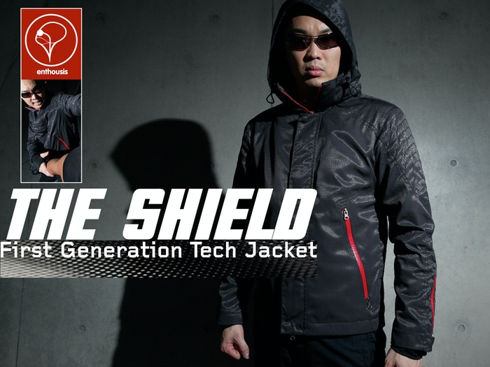 Tech Jacket with RFID blocking pocket, shell with carbon fiber properties, detachable hood with discreet storage pouch, and more...