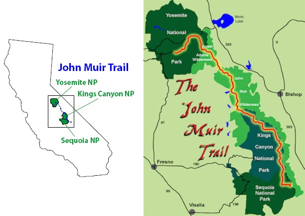 The John Muir Trail spans 3 National Parks - Map courtesy of hikeJMT.com