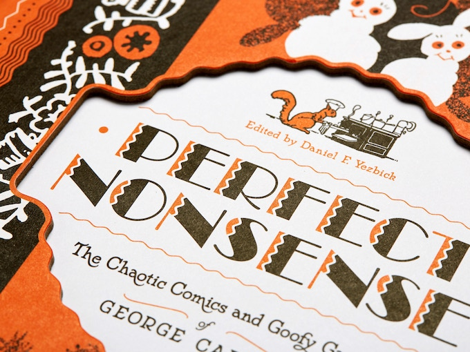 Detail shot of the cutout cover of Perfect Nonsense, a 50 Books selection.