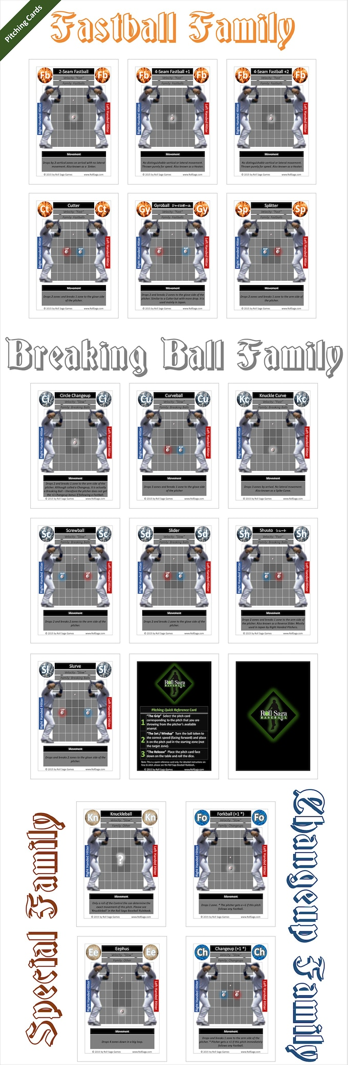 All pitch cards in Roll Saga are divided into families, each color-coded and represented by an element: Fire for Fastballs, Water for Changeups, Air for Breaking Balls, and Earth for Special Pitches (like the knuckle ball).