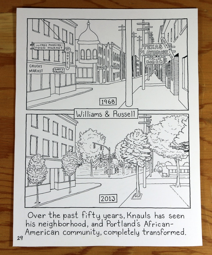 """Original art sale! Receive a piece of original artwork from one of Know Your City's comics by Khris Soden about Paul Knauls, """"The Unofficial Mayor of Northeast Portland"""" and proprietor of The Cotton Club and Geneva's Hair Salon $100"""