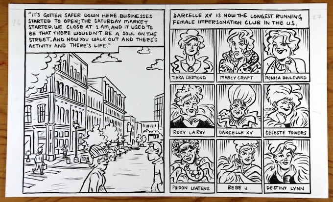 Original art sale! Receive a piece of original artwork from one of Know Your City's comics by Jonathan Hill about Walter Cole aka Darcelle, proprietor of the longest-running female impersonator club in the U.S. $100