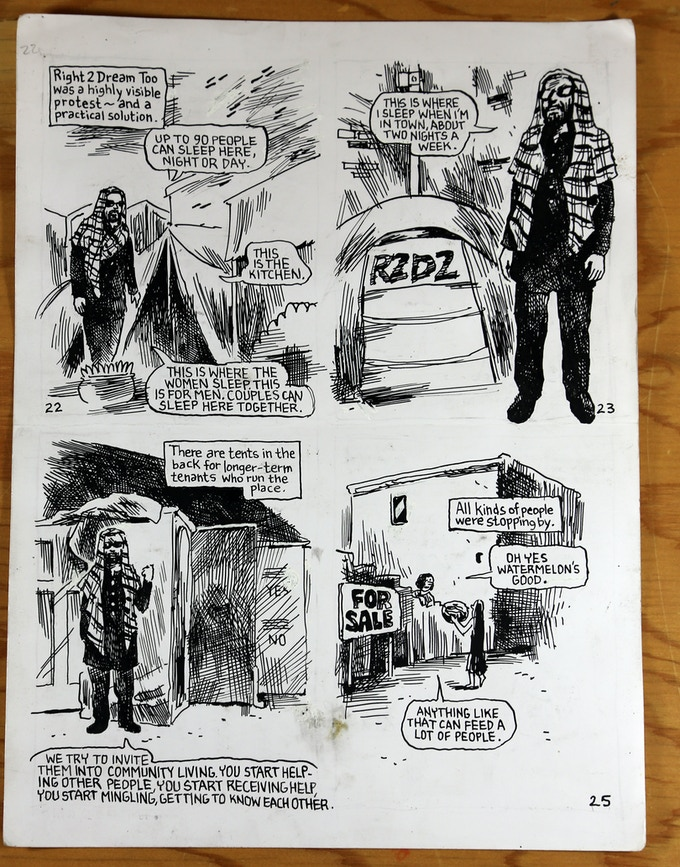 Original art sale! Receive a piece of original artwork from one of Know Your City's comics by Jesse Reklaw about Ibrahim Mumbarak, Co-founder of Dignity Village and Right 2 Dream Too $100