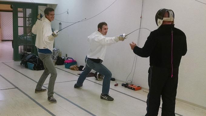 Tom Martin coaching Sean Peck-Collier and Hayden James