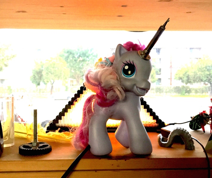 "Sparkles, CRASH Space's hands-free soldering unicorn (""alicorn"" to the bronies)"