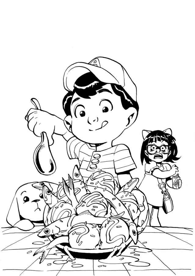 A is for Anchovy Ice Cream. Inks by Takeshi Miyazawa for the ABC Disgusting alphabet book.
