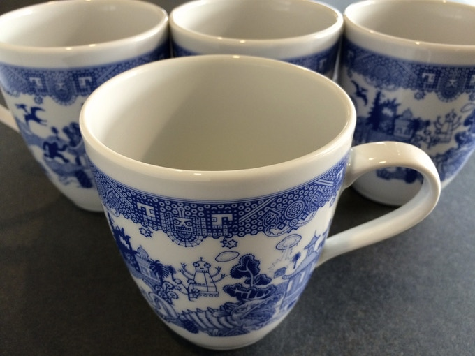 Reward: Set of four matching porcelain mugs