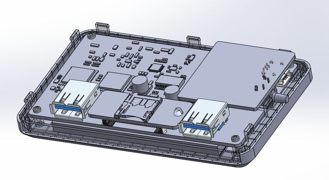 3D rendering of PCB/Case design