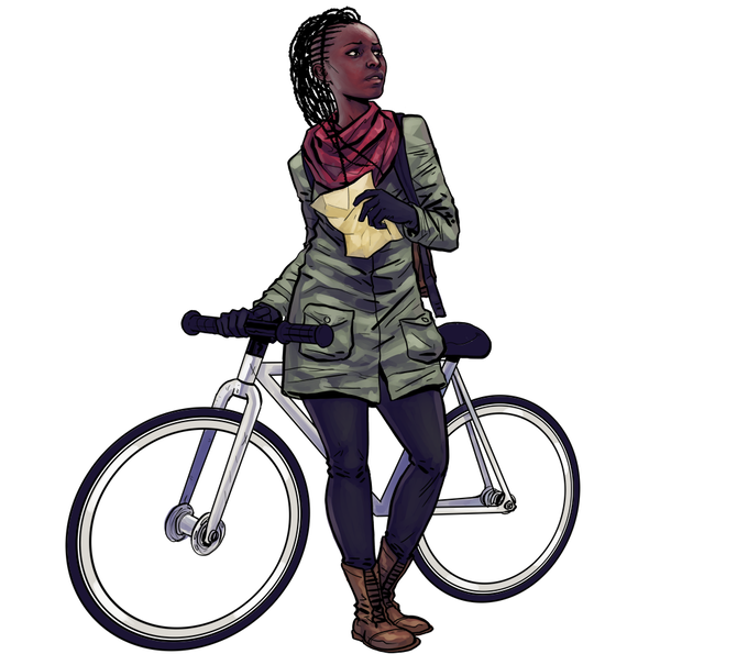 The homie, Zulu the bike, makes a guest appearance. Illustration by Paul Davey