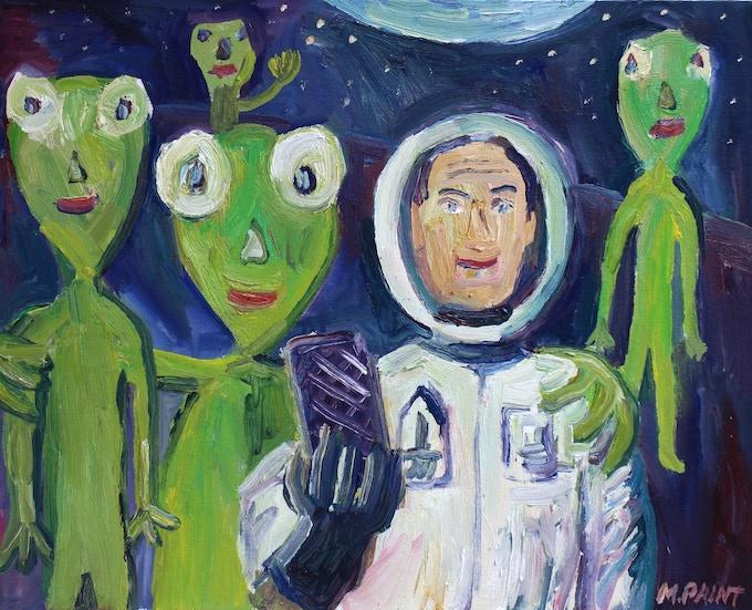 Selfie with Aliens oil painting