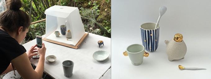 Potter Bridget Bodenham using the Lightcase Pro in the studio (Instagram/@bridgetbodenham)