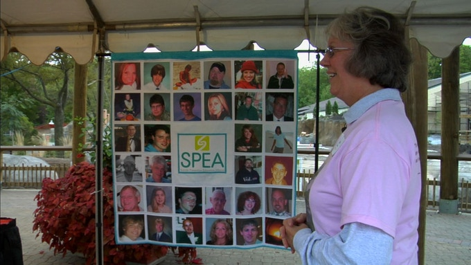 Jan Mohat and her memory quilt at SPEA Suicide Prevention Walk. Cleveland, Ohio
