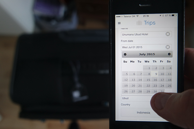 The app allows you to enter multiple future destinations, to and from dates.
