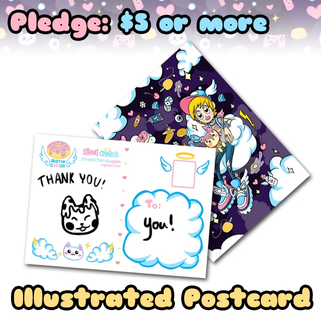 Pledge $5 or more and receive an Illustrated postcard with a sketch drawing mailed to you!