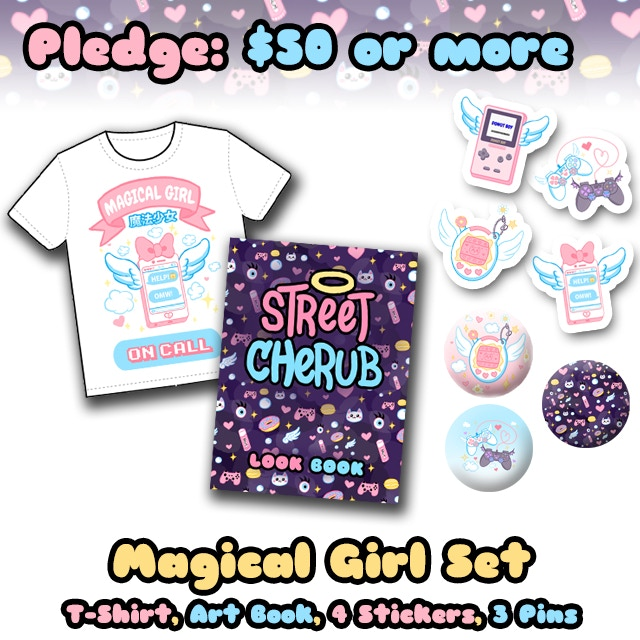 Pledge $50 or more to receive the Magical Girl Set! Includes: A t-shirt, the Street Cherub art book, four stickers, and three button pins!
