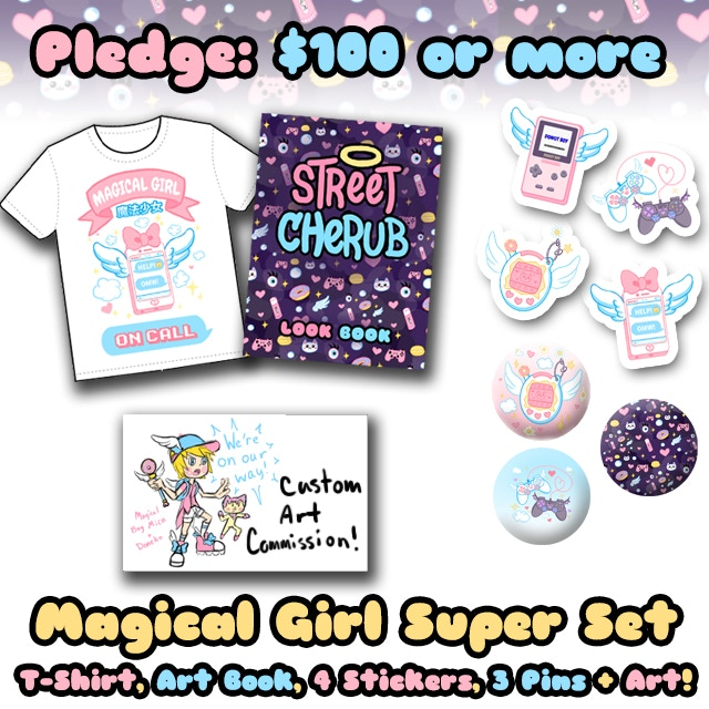 Pledge $100 or more and receive the Magical Girl Super Set: Everything included in the $50, and also a custom one of a kind art commission by me!