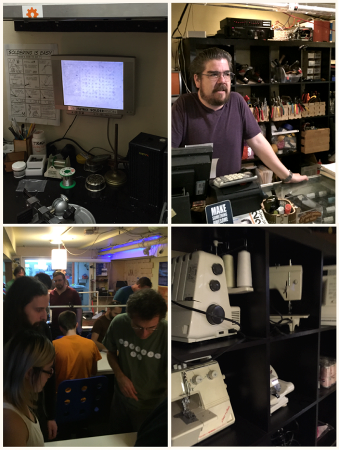 Clockwise from upper left: Demonstrating 25 micron spacing capabilities of the LPKF laser; Matt, the founder/owner, dispensing electronics; a few of the machines in the textiles lab; Keyboardio meetup