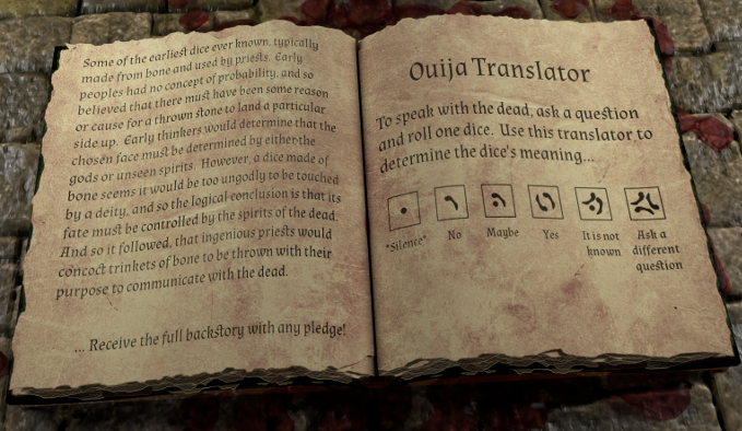 The Bone Origins backstory and Ouija translator.  Click the image for a larger high resolution version.