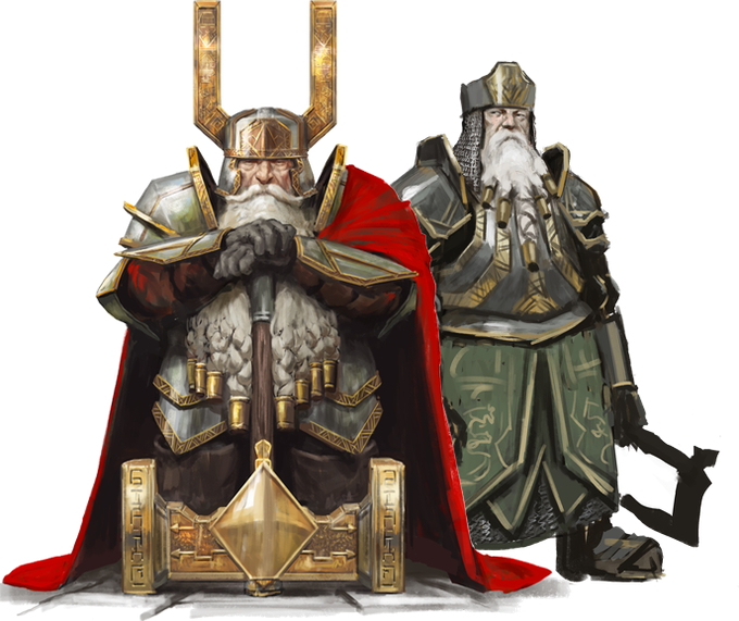 Giselbert Ironeye, King of the Dwarven Kingdom of the Fifthlings, and one of his soldiers