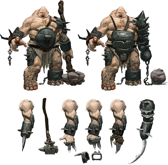 Concept Art of an ogre with some weapon variations