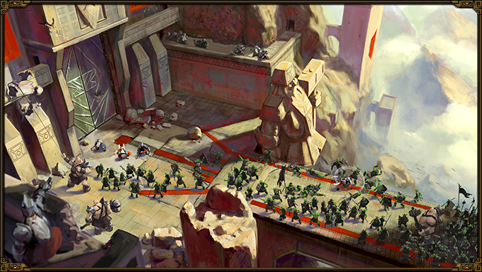 """Concept Art of the """"Stone Gateway"""", the first battleground in """"The Dwarves""""."""