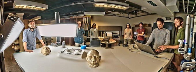 Digitization team working with Abraham Lincoln's life mask