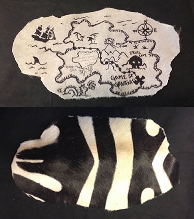 Ancient Game Treasure Map on Zebra Skin