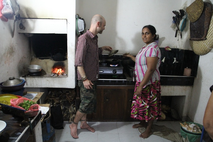 Learning new kitchen skills during a homestay in Galle Fort, Sri Lanka