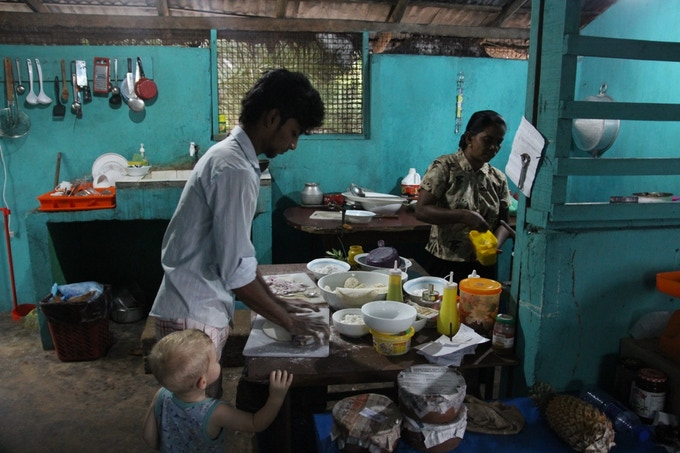 Kolja helping out in the kitchen at Shiva's in Upuvelli, Sri Lanka