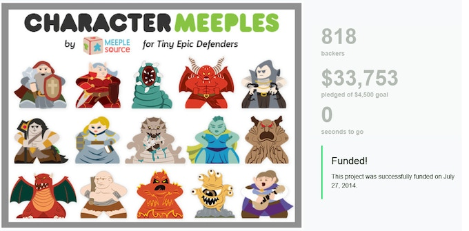 Our second Kickstarter project, meeples for Tiny Epic Defenders!