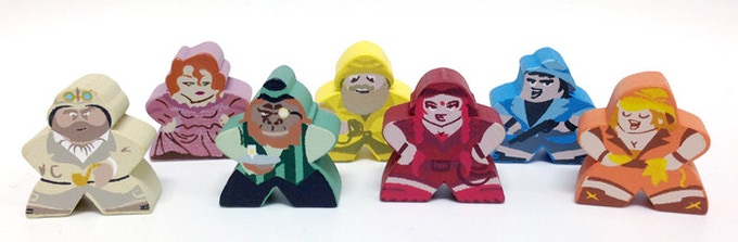 The Character Meeples we created for Stuff and Nonsense, by Cheapass Games