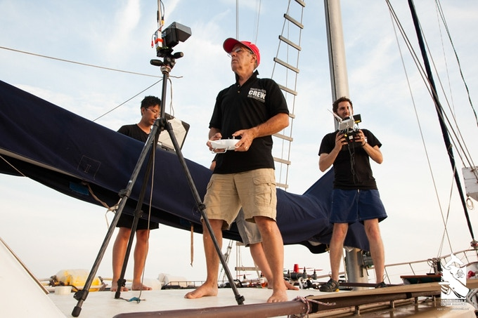 Ocean Alliance CEO Iain Kerr and the Olin College crew testing Snotbots in the Gulf