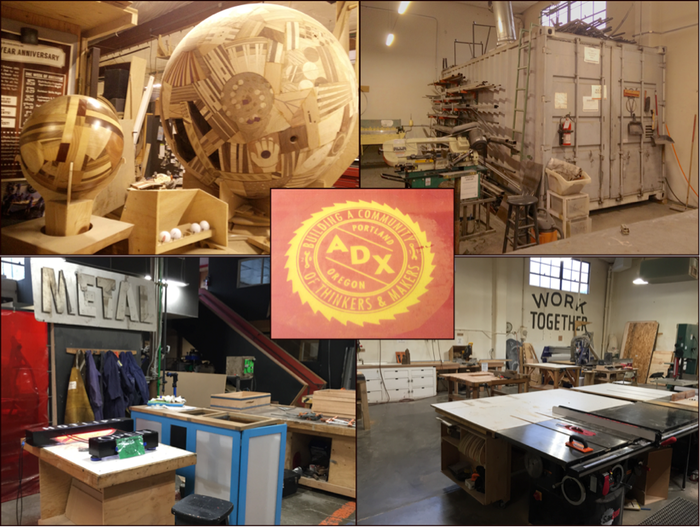 Center: ADX logo on a silkscreen; Clockwise from UR: shipping container made into a grinding room; Wood shop; totally metal signage; art by Charlie Haughie with a custom wood-router