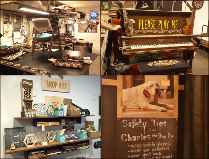 Upholstery lab, Piano, Safety-conscious shop dog, Merch from a few of the 100+ companies that have manufactured at ADX