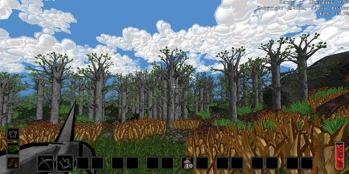 Lords of Uberdark is a 3D voxel-based mining and building game with smooth geometry and cartoon-style graphics.