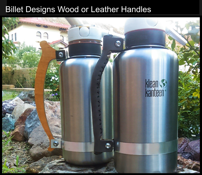 Accessory Wood and Leather Handles for the klean kanteen, a Billet Designs exclusive