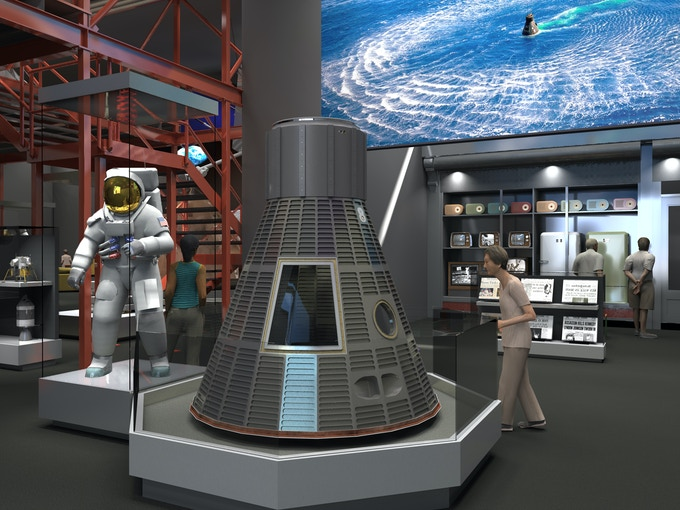 "Early rendering of Armstrong suit display in ""Destination Moon"" gallery"