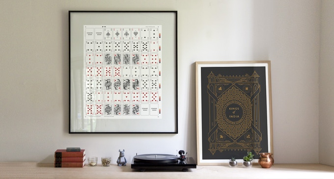 """The uncut sheet (left) is a collector's item printed on Bicycle paper with the fronts and backs of every card. The screenprint poster (right) is a 18 x 24"""" hand-pulled 2 colour print with metallic copper ink on charcoal grey. Both are numbered and signed."""