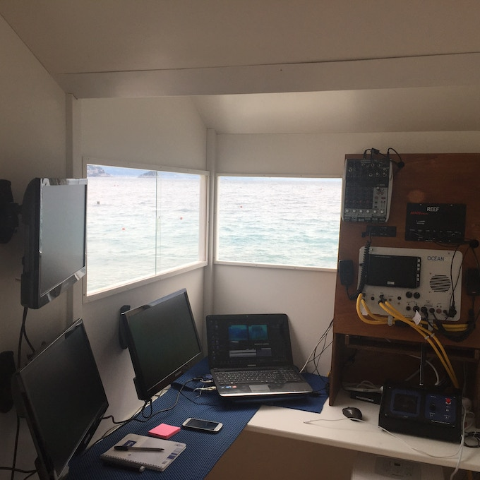 Inside our Control Tower - where we monitor the biospheres, coordinate the divers efforts, connect to the rest of the world and take care of production during  broadcasting.