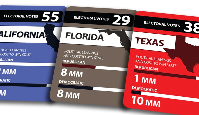 Blue Cards represent states that lean Democratic, Brown represent states that swing both ways and Red represents states that lean Republican