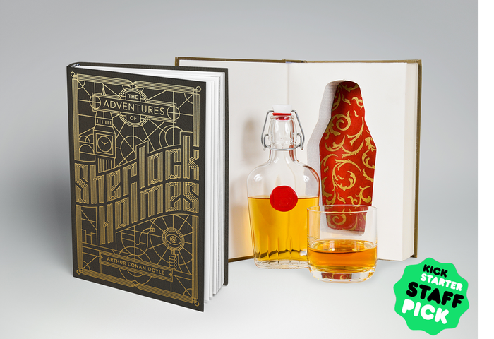 Beautifully designed Sherlock Holmes and Edgar Allan Poe books with glass flasks hidden inside.  How, you ask? Elementary, dear Watson.