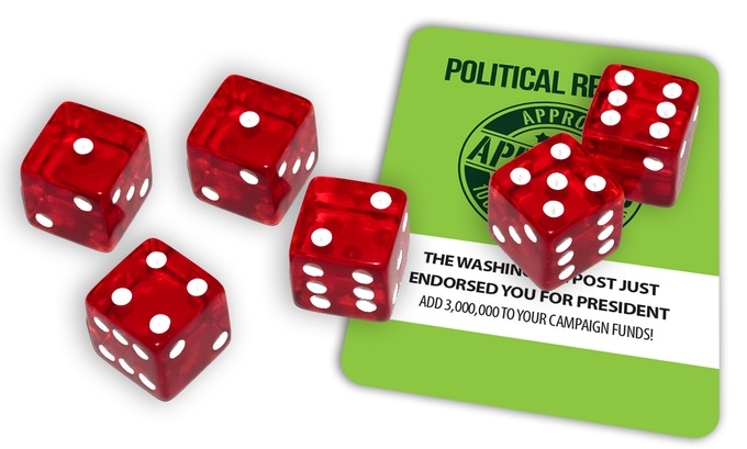 The game play to raise your campaign funds is like Farkle but with cards and objectives.