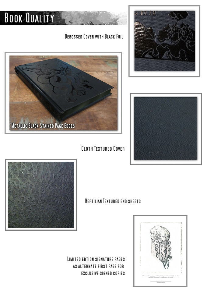Digital Mockup - Metallic black stained page edges and debossed cloth cover with black foil and textured end sheets